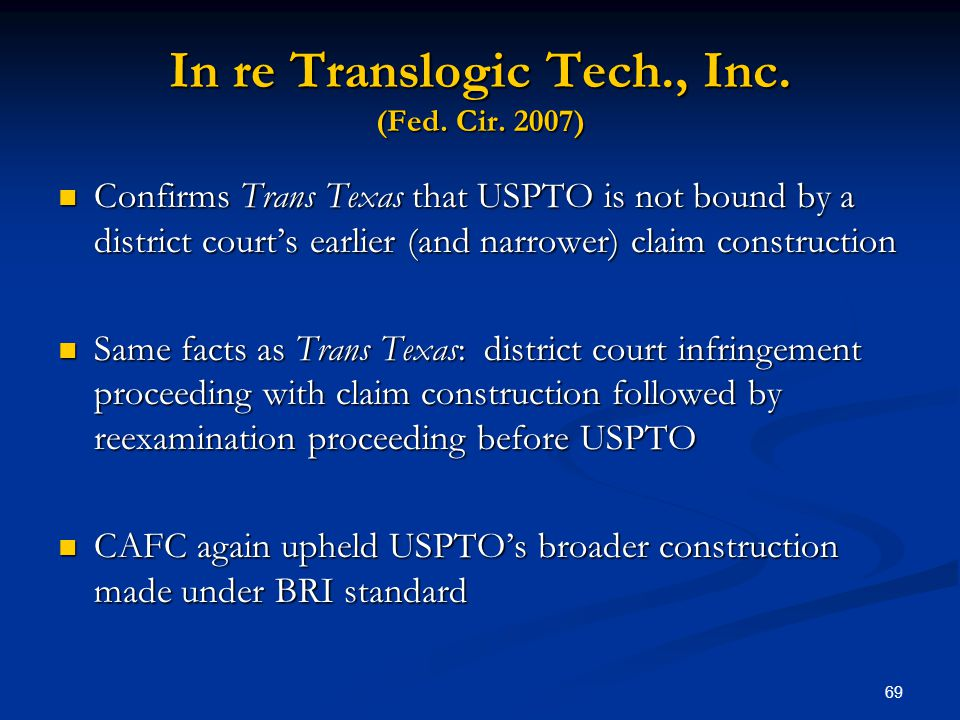 In re Translogic Tech., Inc. (Fed. Cir. 2007)