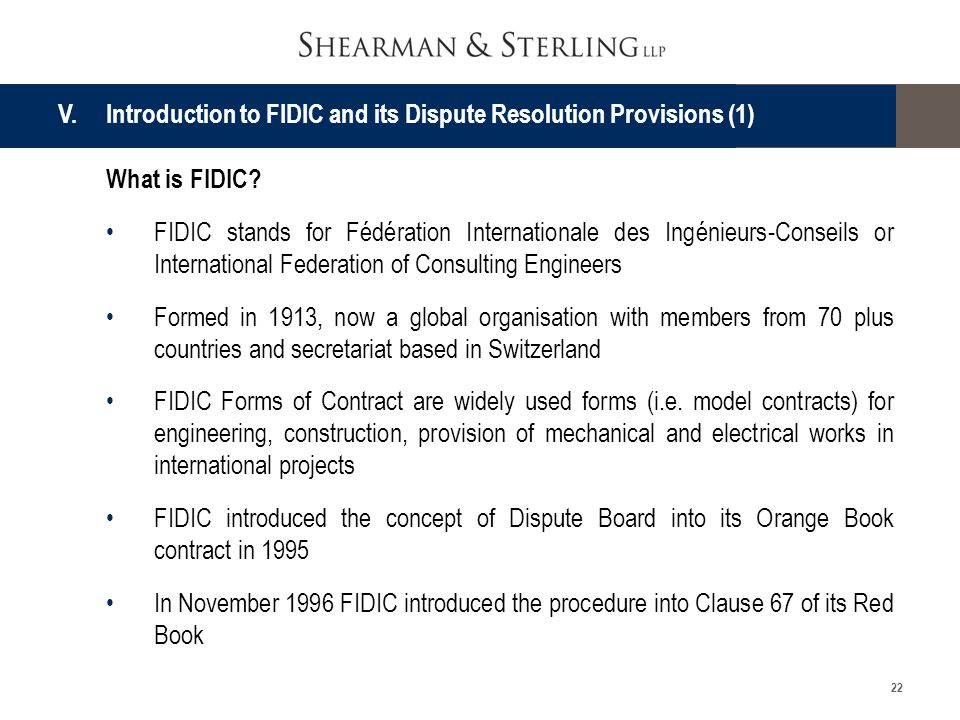 V. Introduction to FIDIC and its Dispute Resolution Provisions (1)