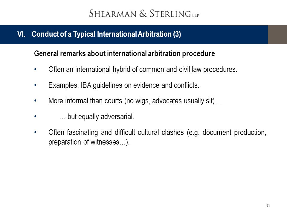 VI. Conduct of a Typical International Arbitration (3)