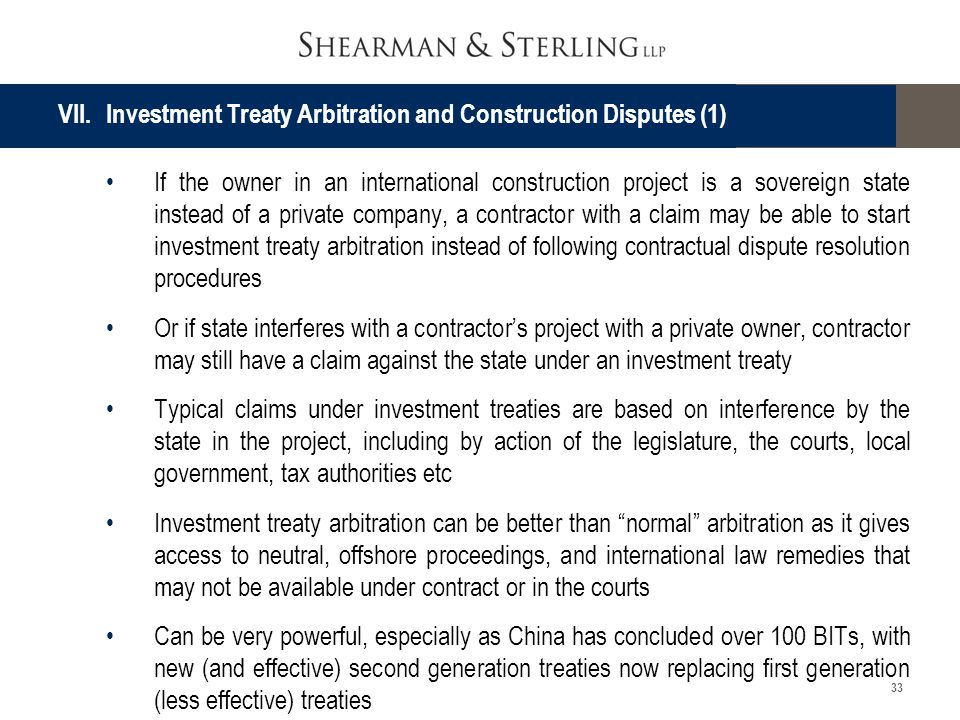 VII. Investment Treaty Arbitration and Construction Disputes (1)