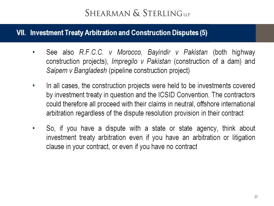 VII. Investment Treaty Arbitration and Construction Disputes (5)