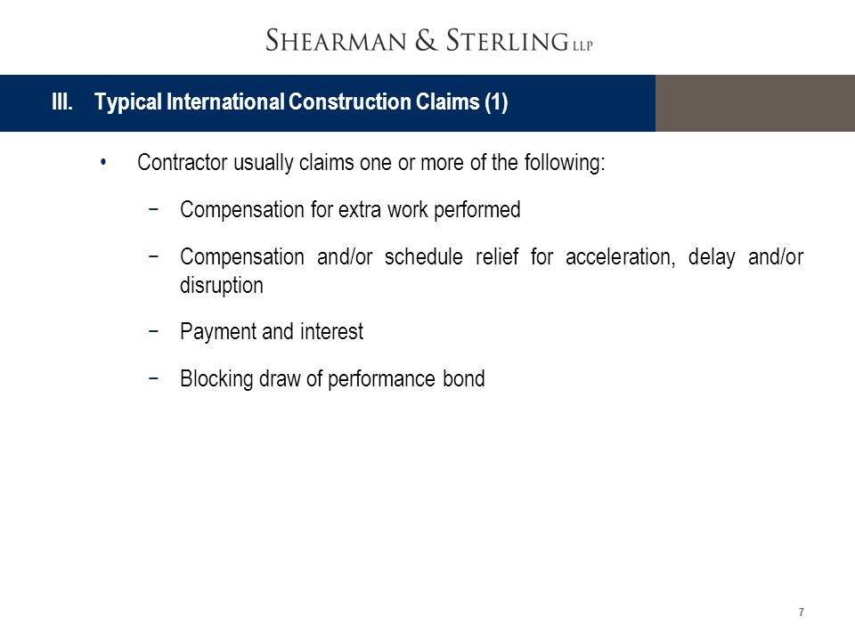 III. Typical International Construction Claims (1)