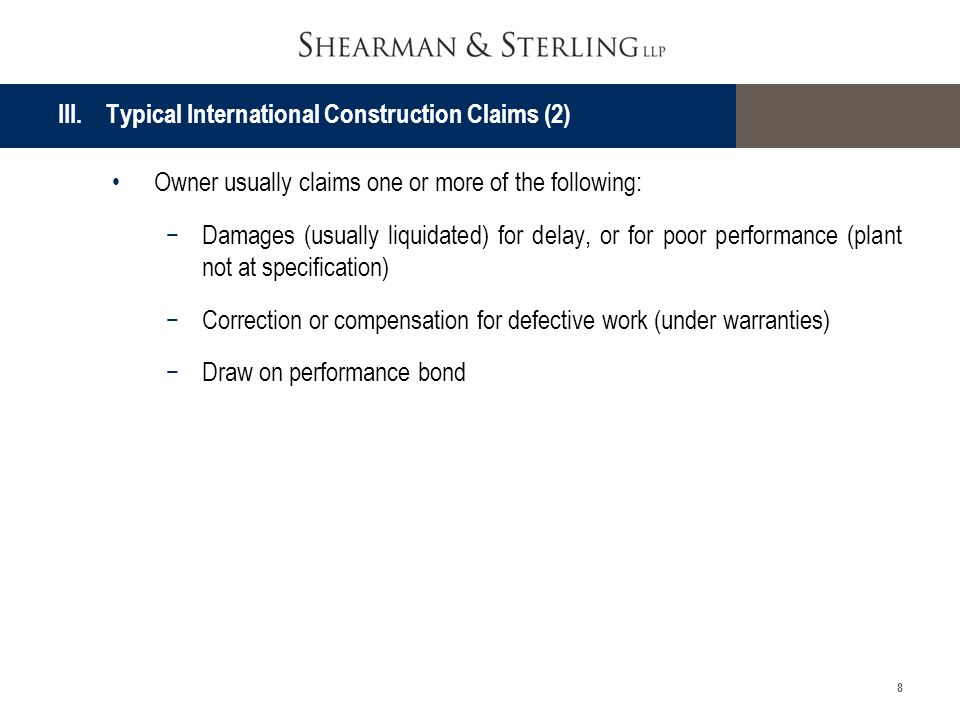 III. Typical International Construction Claims (2)
