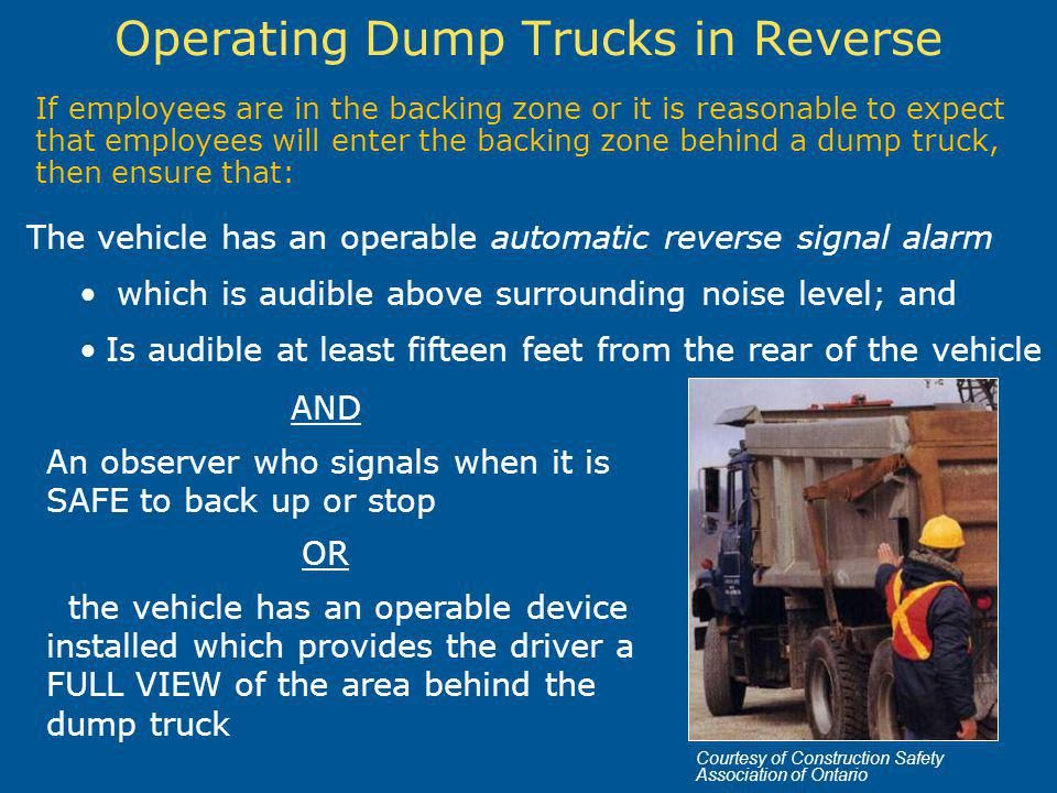 Operating Dump Trucks in Reverse