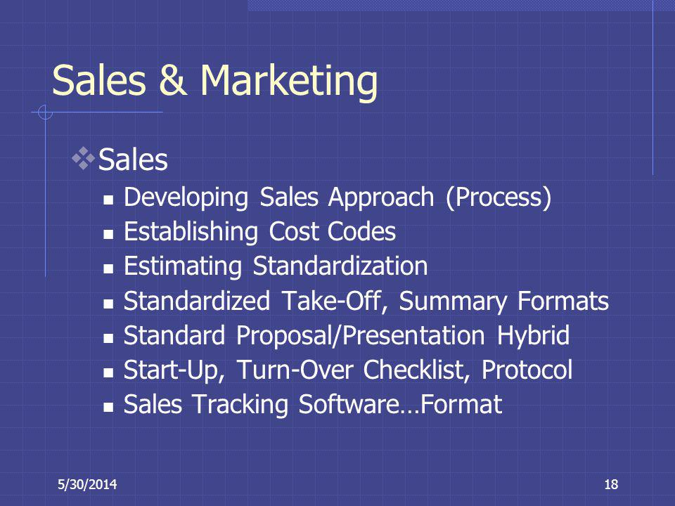 Sales & Marketing Sales Developing Sales Approach (Process)