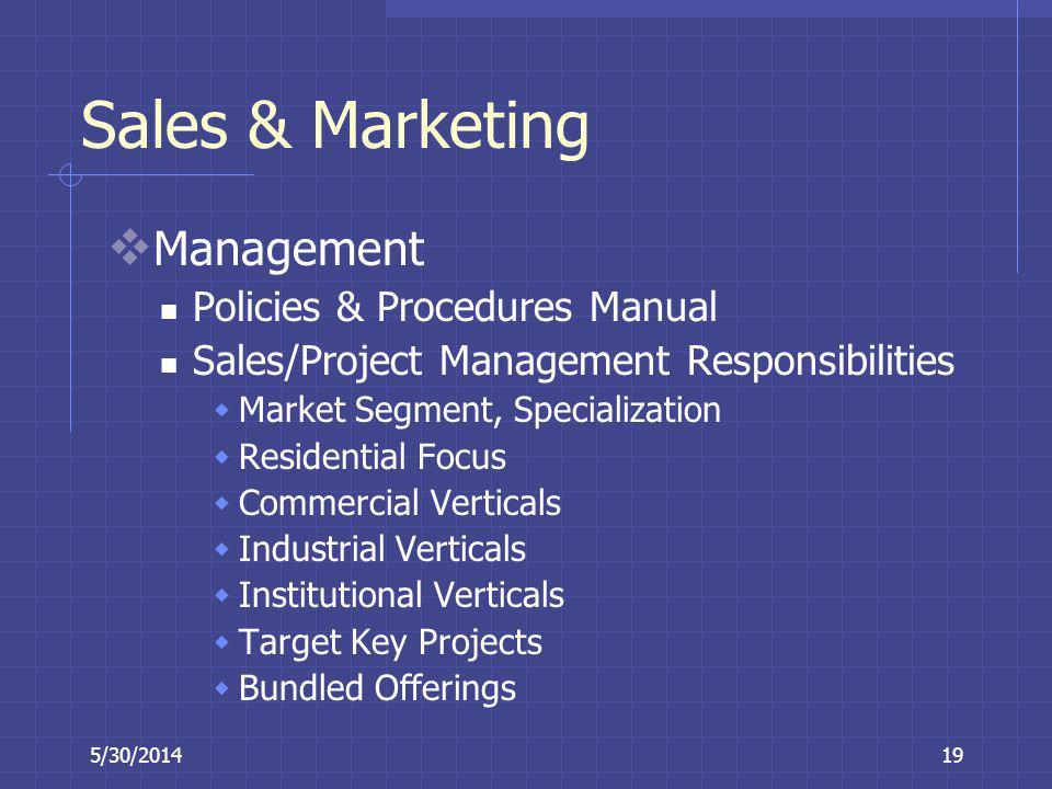 Sales & Marketing Management Policies & Procedures Manual