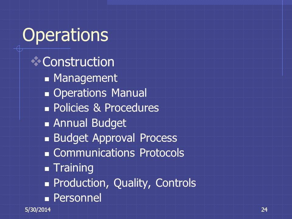 Operations Construction Management Operations Manual