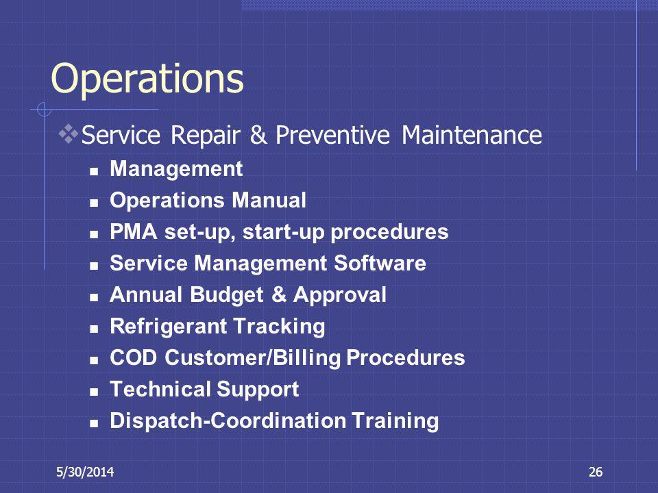 Operations Service Repair & Preventive Maintenance Management