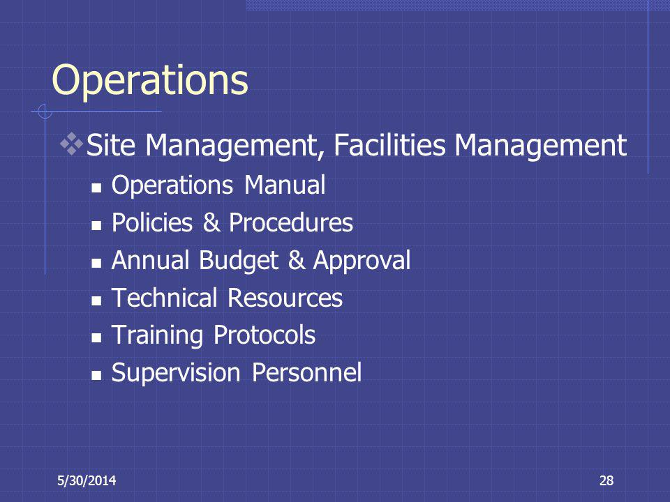 Operations Site Management, Facilities Management Operations Manual