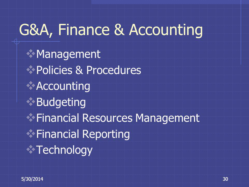 G&A, Finance & Accounting