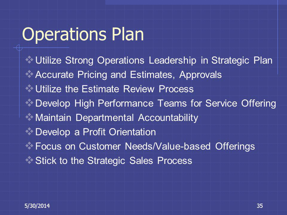 Operations Plan Utilize Strong Operations Leadership in Strategic Plan
