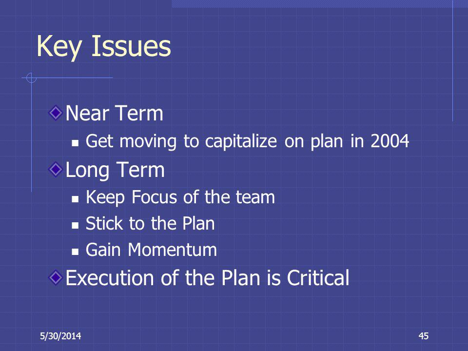 Key Issues Near Term Long Term Execution of the Plan is Critical