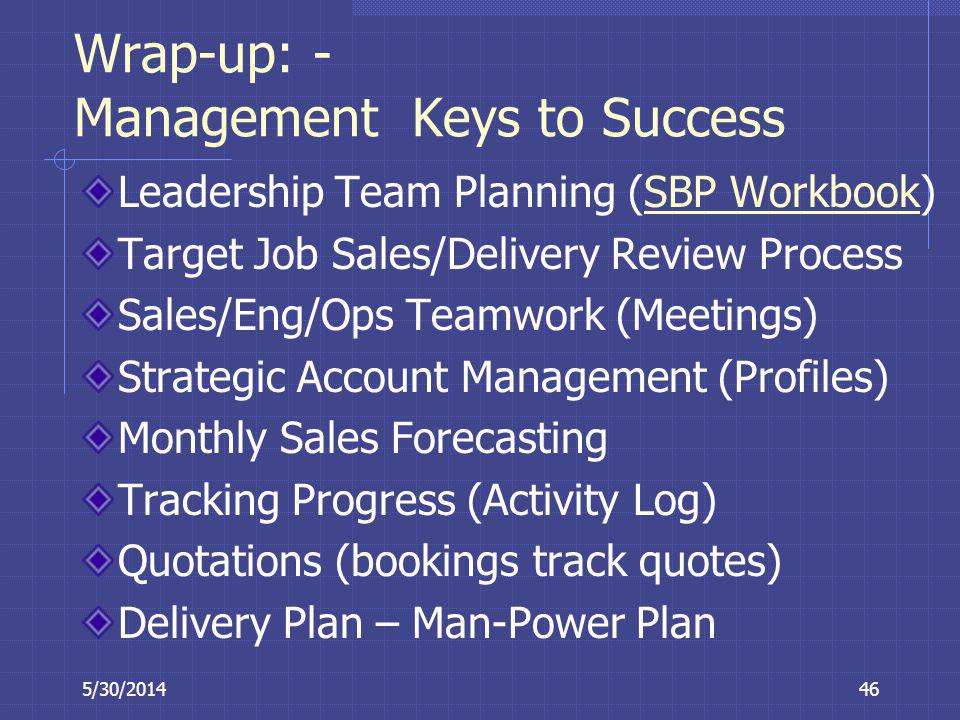 Wrap-up: - Management Keys to Success