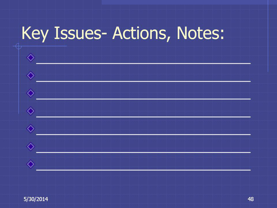 Key Issues- Actions, Notes: