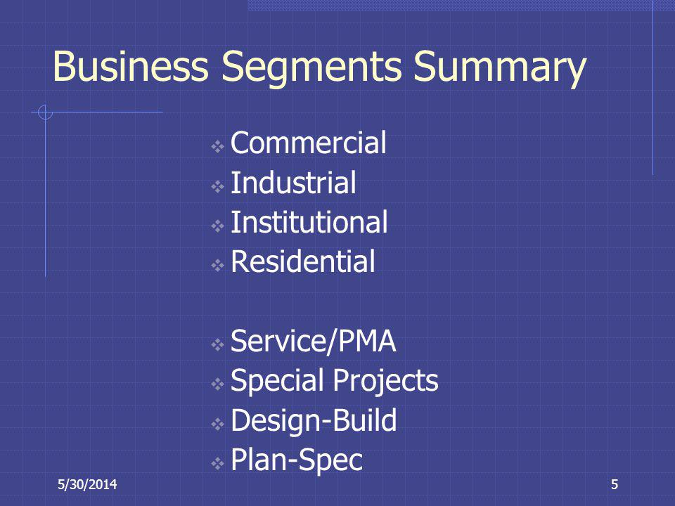 Business Segments Summary