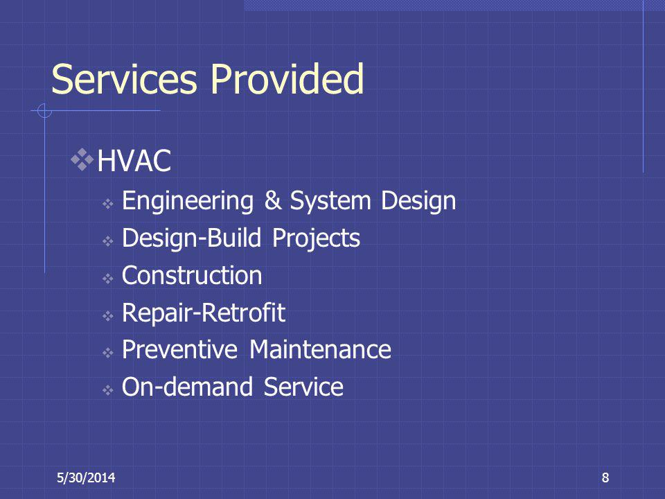 Services Provided HVAC Engineering & System Design