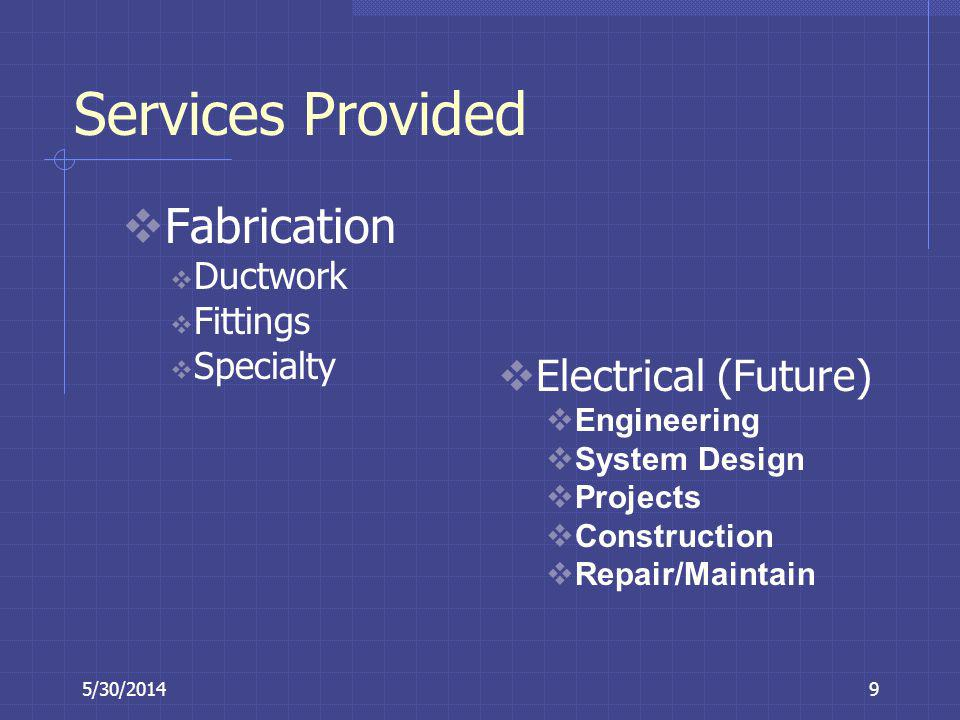 Services Provided Fabrication Electrical (Future) Ductwork Fittings