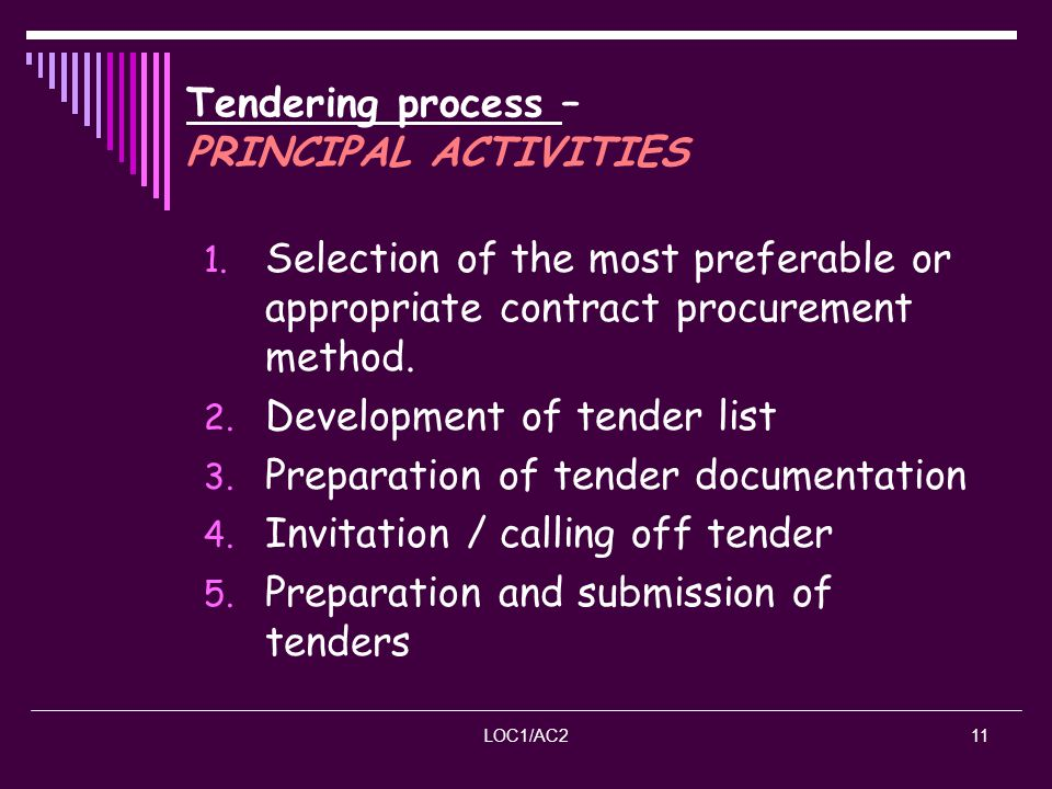 Tendering process – PRINCIPAL ACTIVITIES