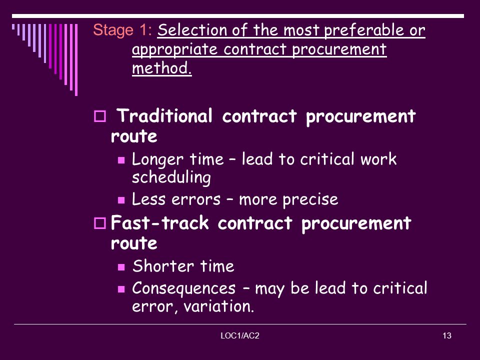 Traditional contract procurement route