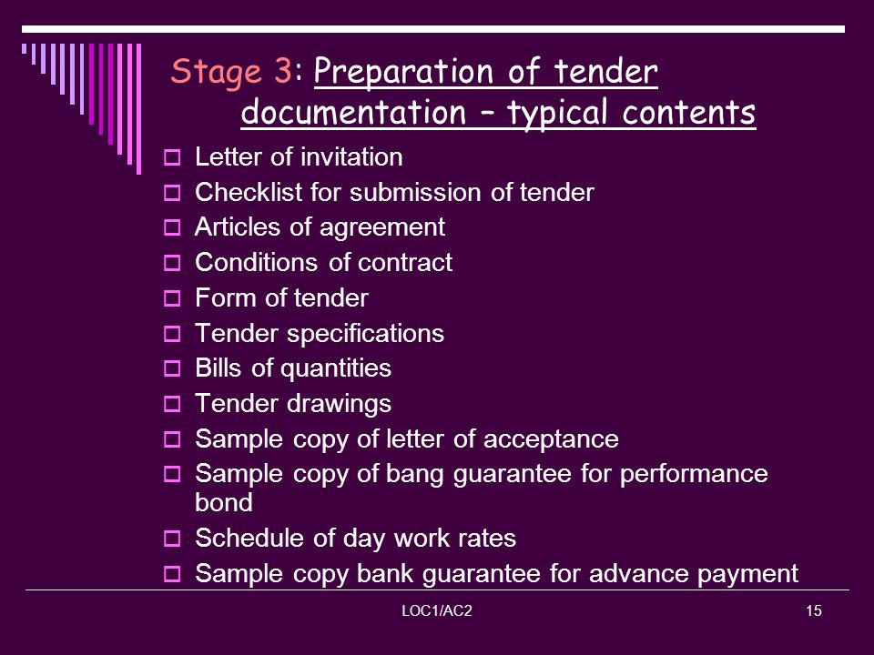 Stage 3: Preparation of tender documentation – typical contents