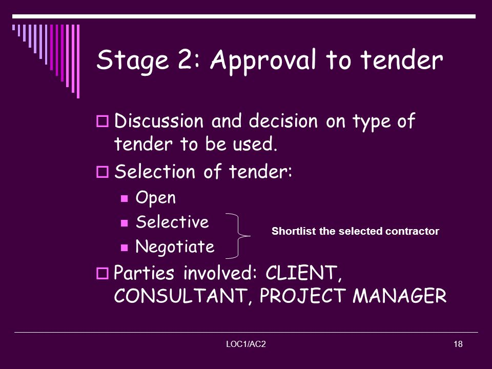 Stage 2: Approval to tender