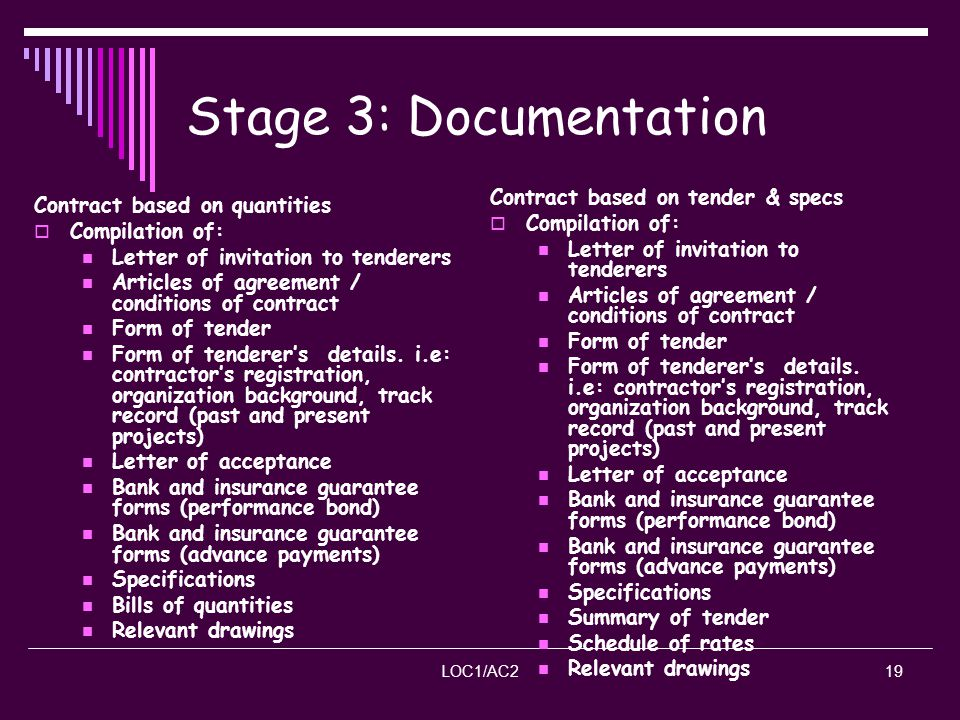 Stage 3: Documentation Contract based on tender & specs