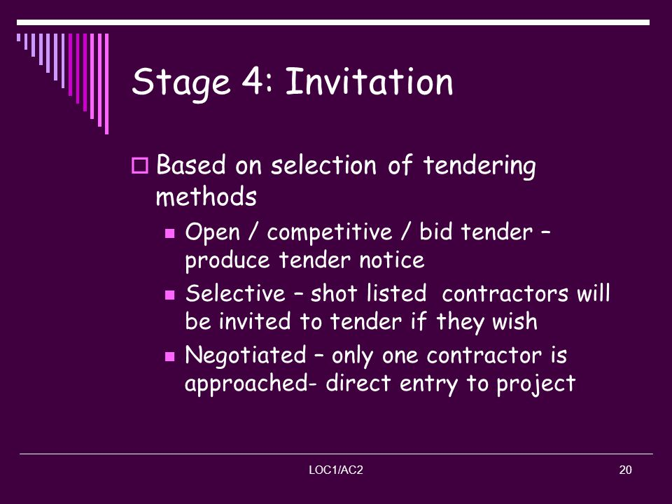 Stage 4: Invitation Based on selection of tendering methods