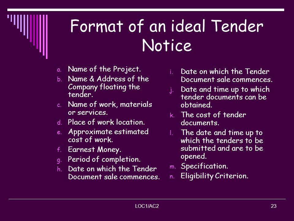 Format of an ideal Tender Notice