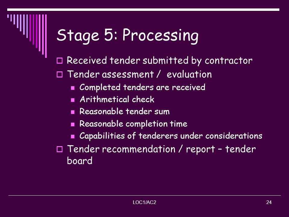 Stage 5: Processing Received tender submitted by contractor