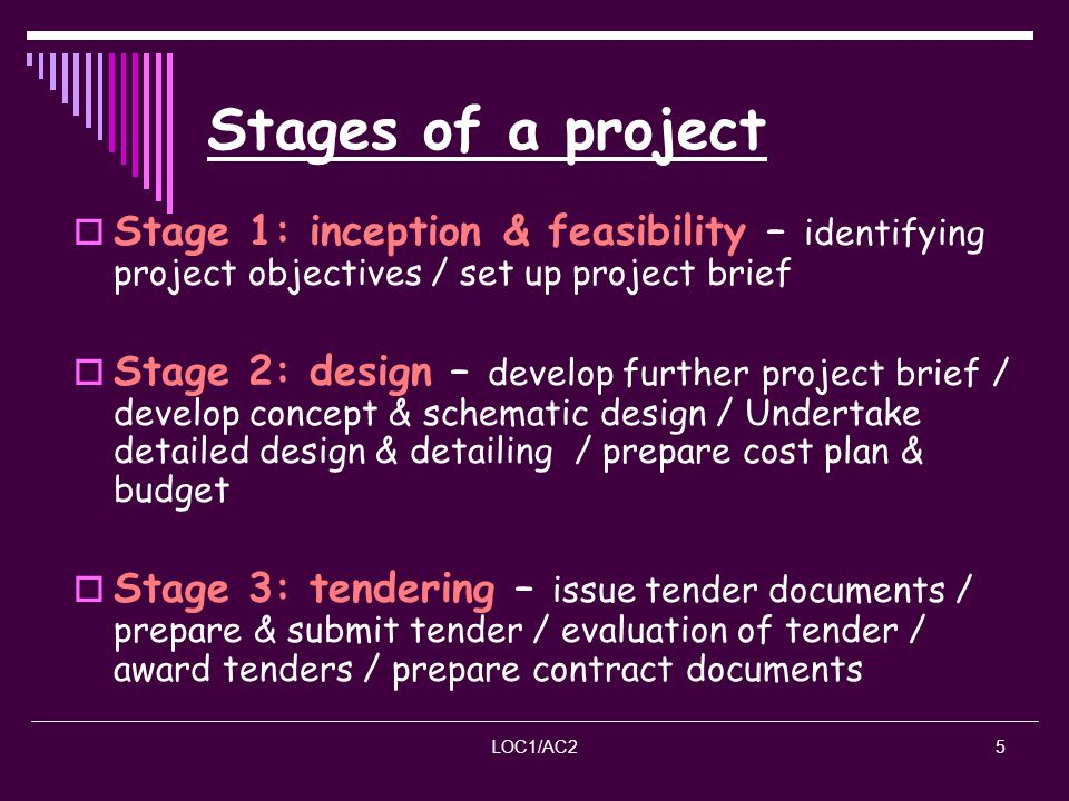 Stages of a project Stage 1: inception & feasibility – identifying project objectives / set up project brief.