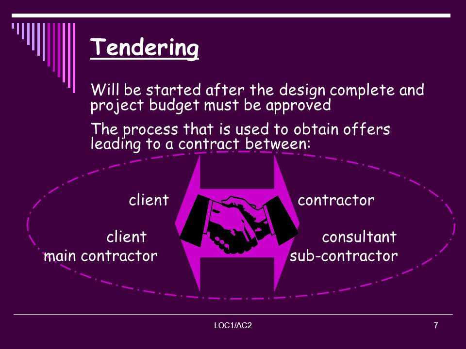 Tendering Will be started after the design complete and project budget must be approved.