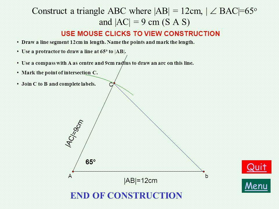 Construct a triangle ABC where |AB| = 12cm, |  BAC|=65o and |AC| = 9 cm (S A S)