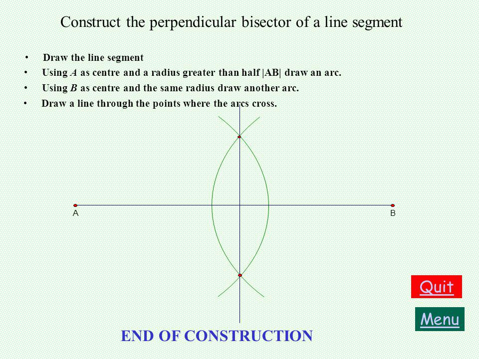 Construct the perpendicular bisector of a line segment