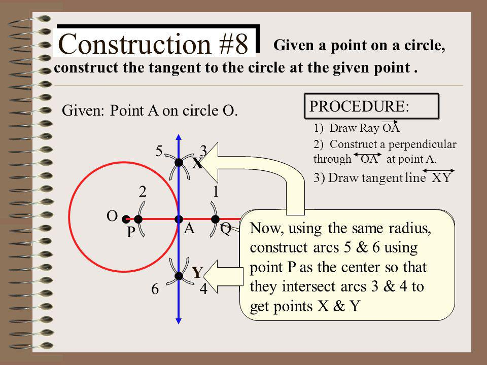 Given a point on a circle, construct the tangent to the circle at the given point .