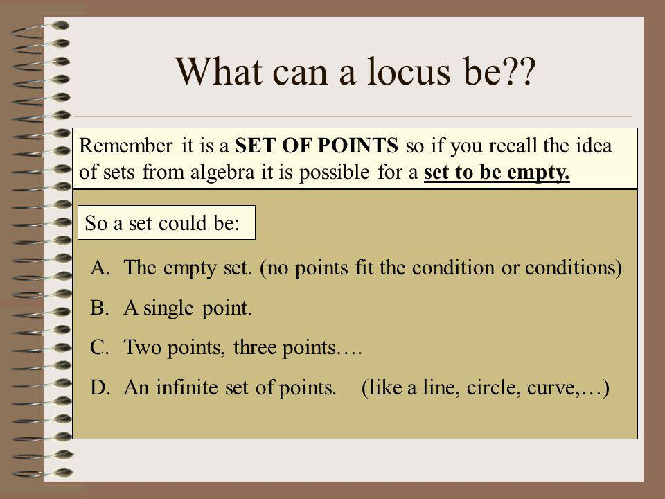 What can a locus be Remember it is a SET OF POINTS so if you recall the idea of sets from algebra it is possible for a set to be empty.