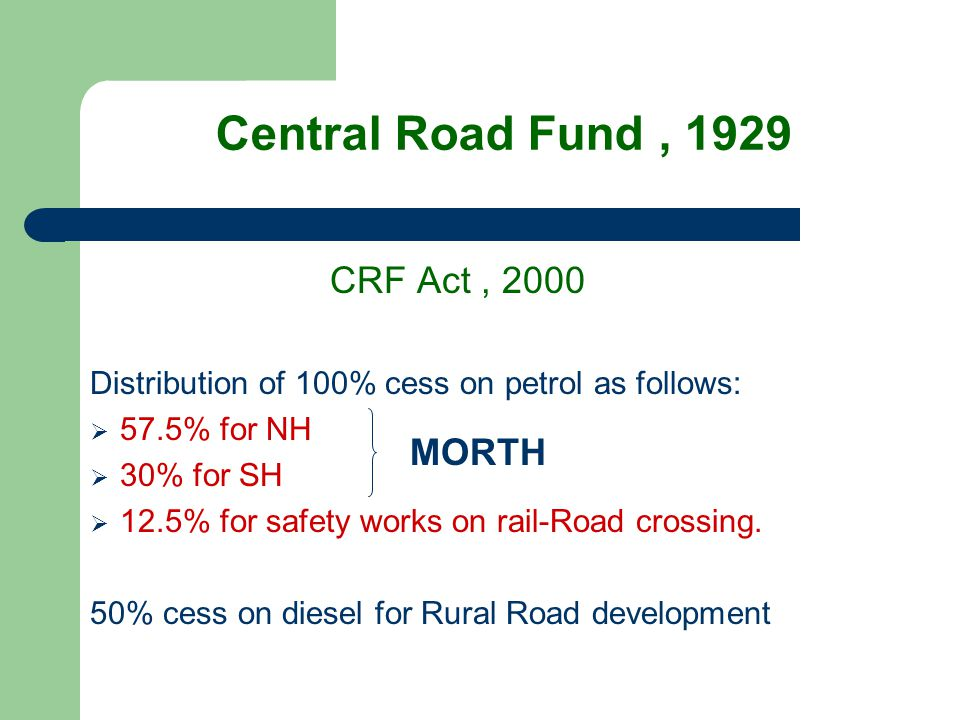 Central Road Fund , 1929 CRF Act , 2000 MORTH