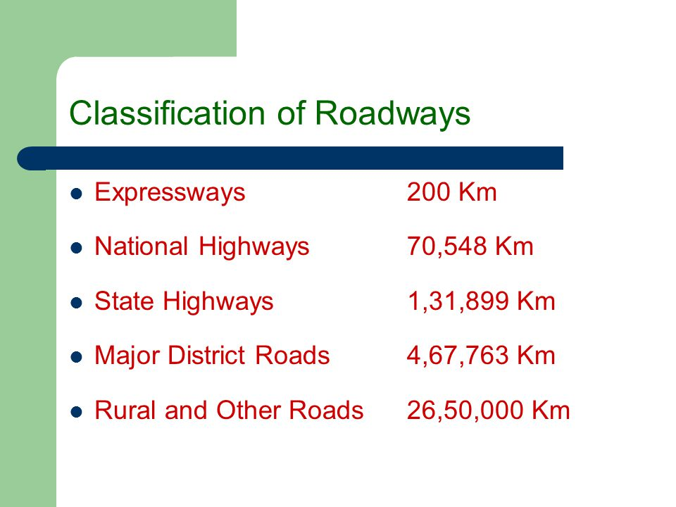 Classification of Roadways