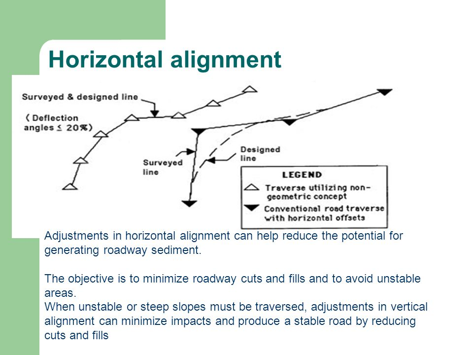 Horizontal alignment Adjustments in horizontal alignment can help reduce the potential for generating roadway sediment.