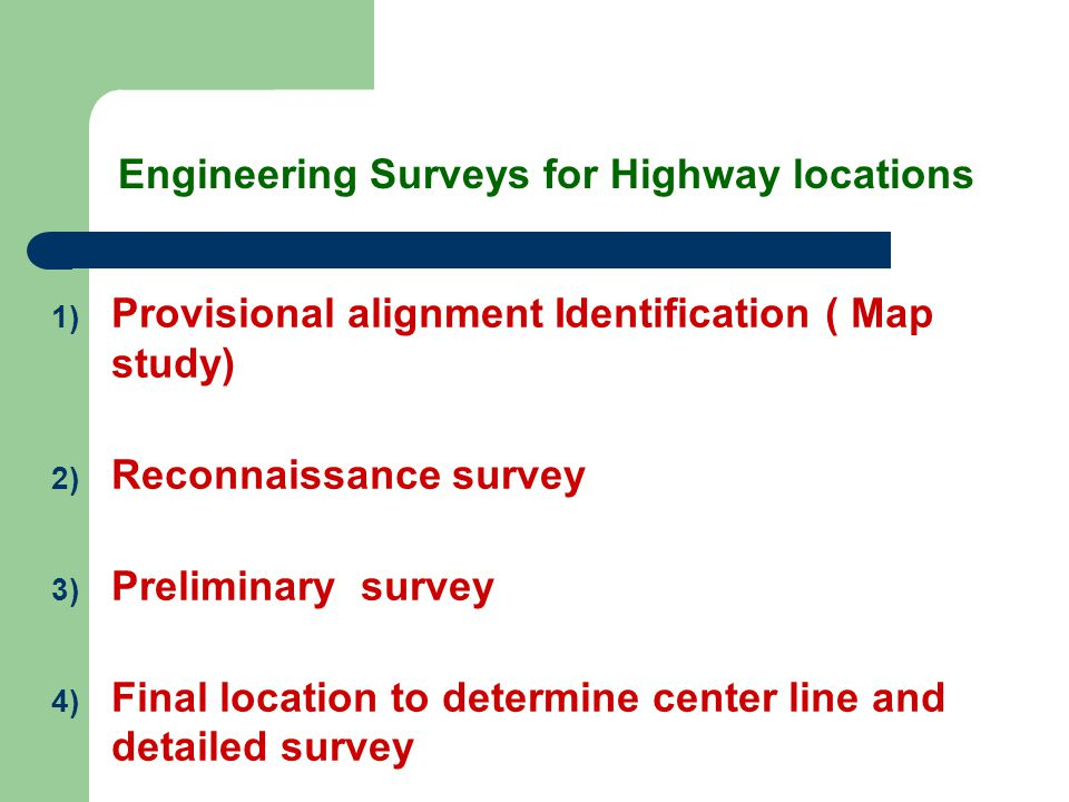 Engineering Surveys for Highway locations