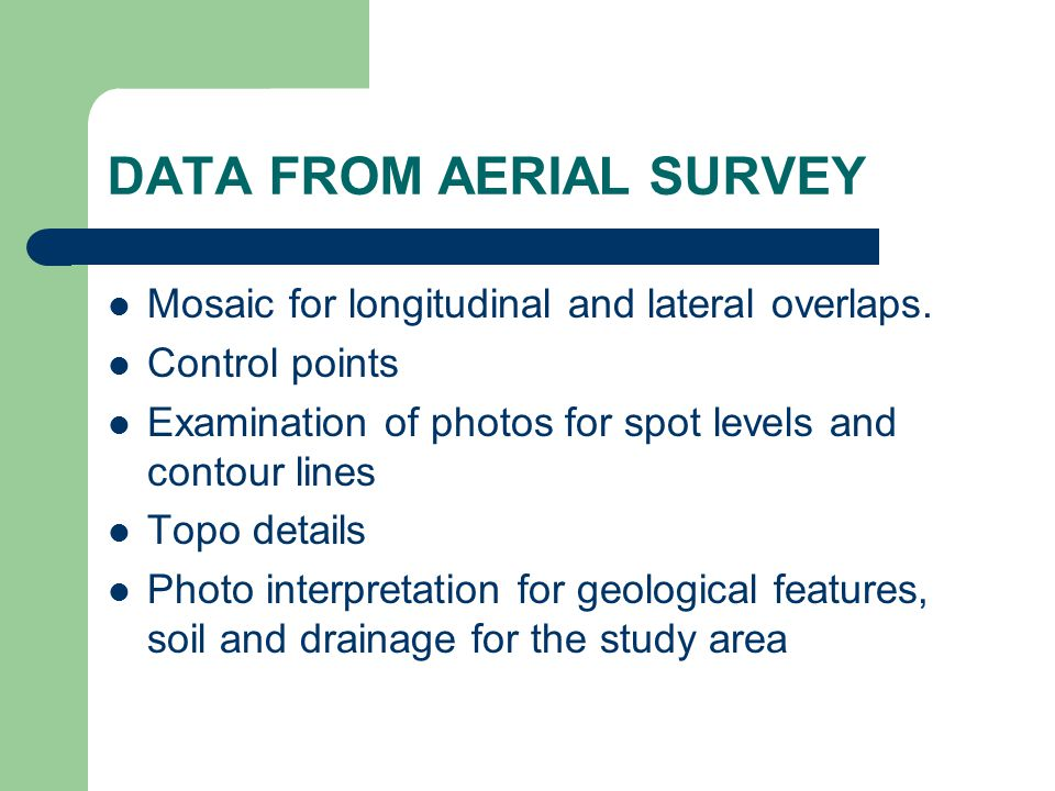 DATA FROM AERIAL SURVEY