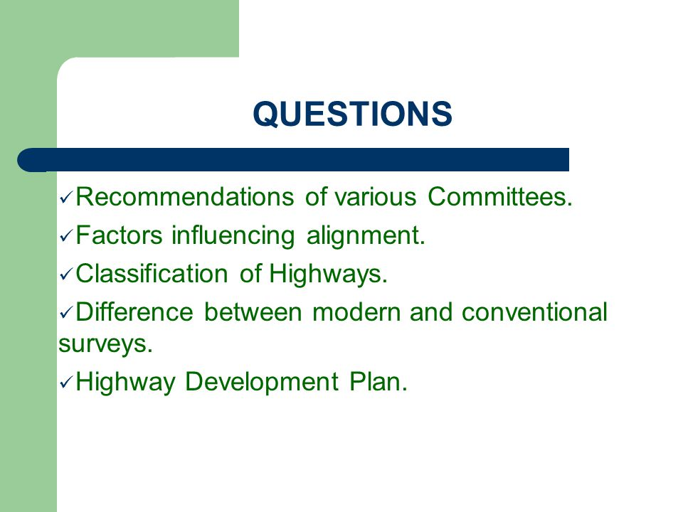 QUESTIONS Recommendations of various Committees.