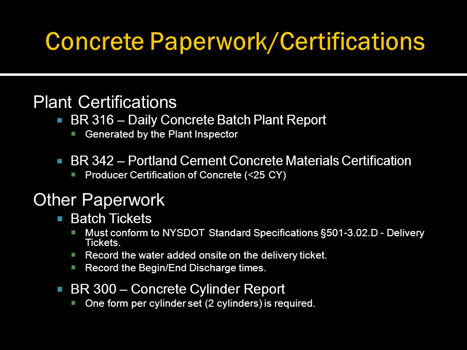 Concrete Paperwork/Certifications