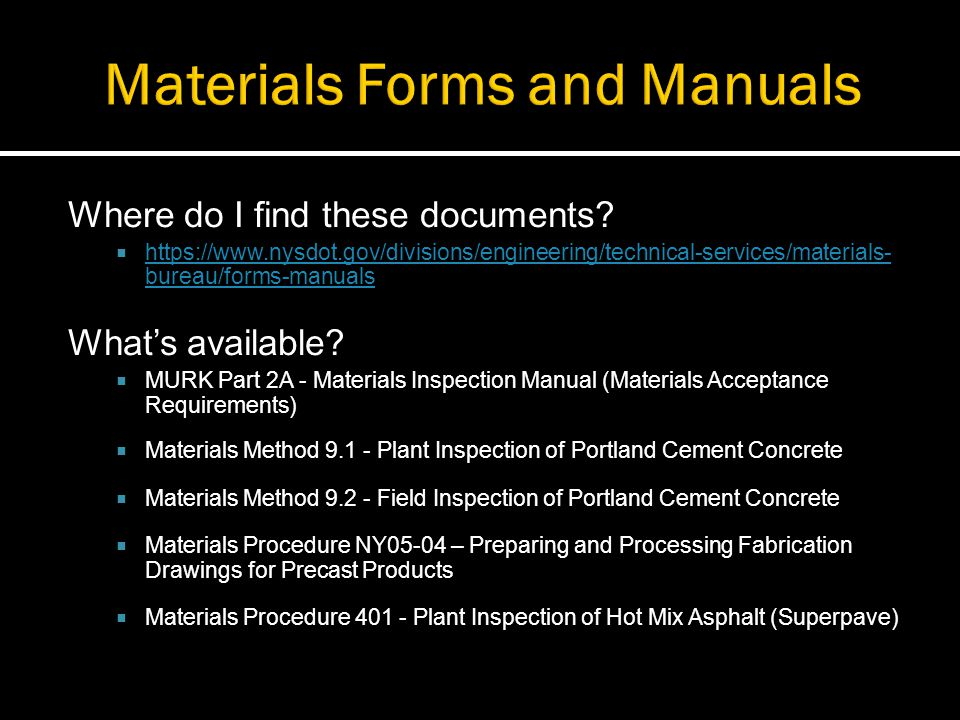Materials Forms and Manuals