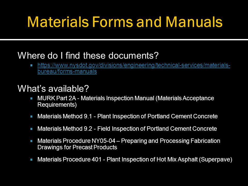 Nysdot materials inspection manual for Bureau 2a form