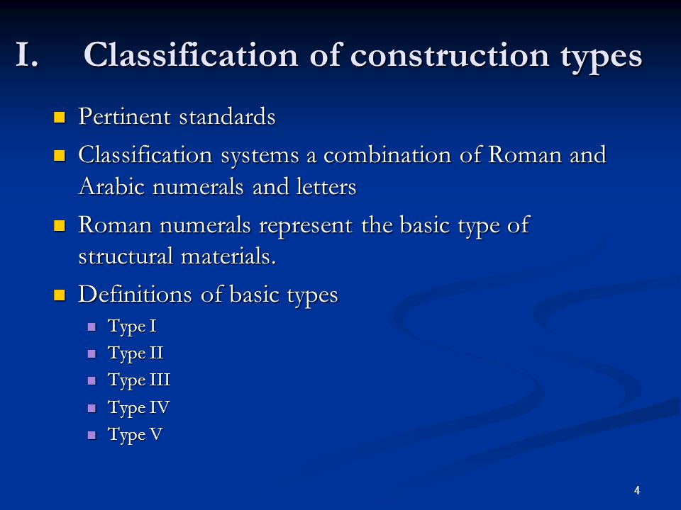 I. Classification of construction types