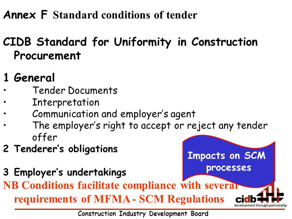 Annex F Standard conditions of tender