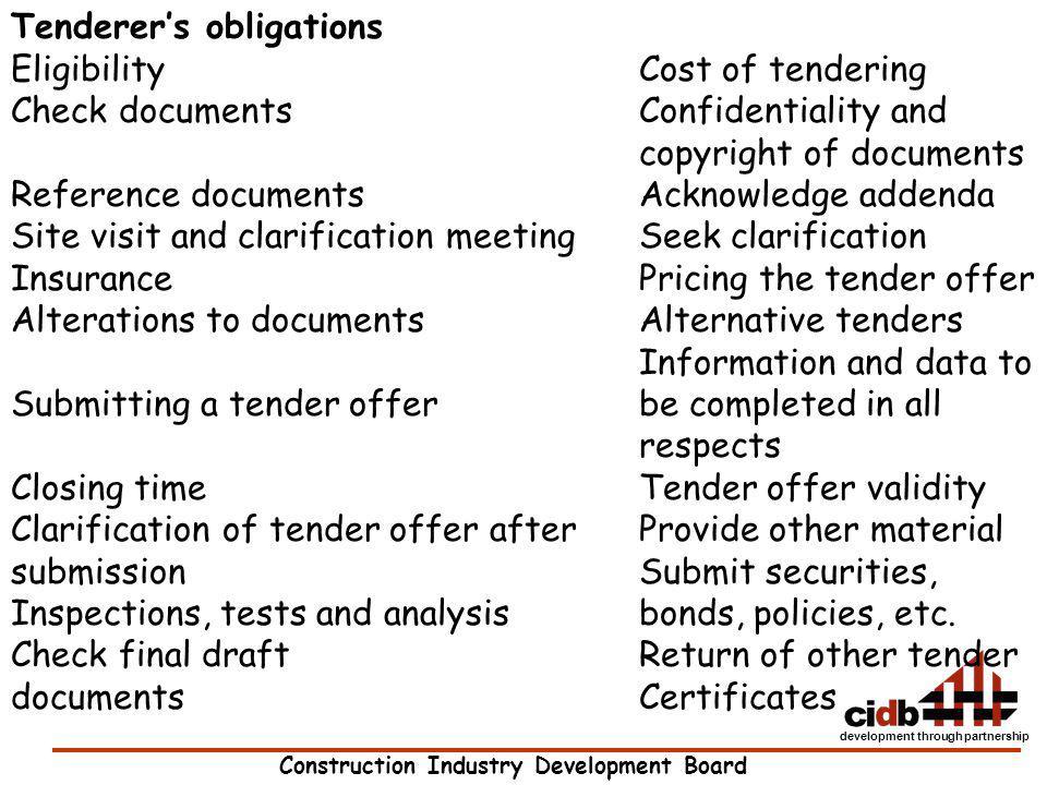 Tenderer's obligations