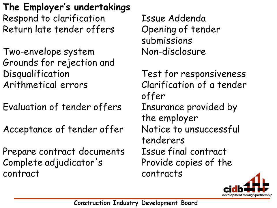 The Employer's undertakings