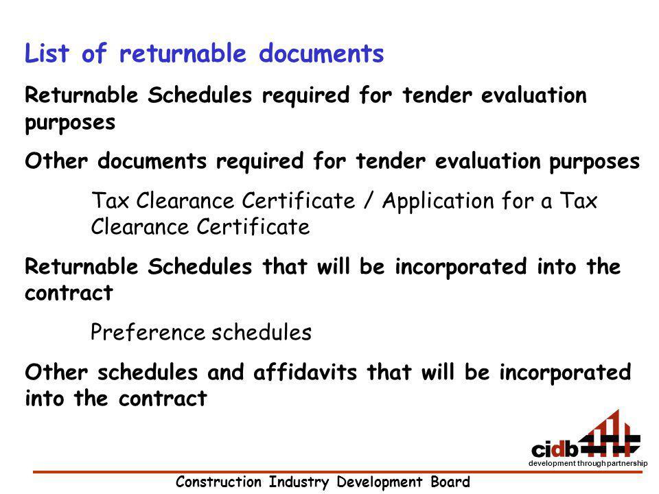 List of returnable documents