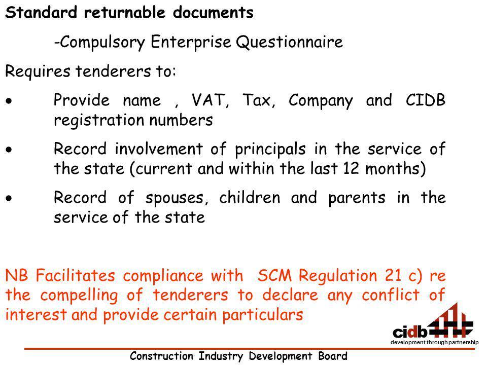 Standard returnable documents